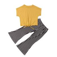 Fashion Toddler Kids Baby Girls Yellow Crop Top Shirt+Striped Bell-Bottoms Pants Outfits Spring Clothes Set