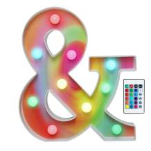 16 Color Changing Rainbow Marquee Letter with Lights, RGB Letter Lights Signs Remote Control Night Light for Valentin's Day, Birthday Party, Wedding, Christmas Decor- Rainbow Letter &