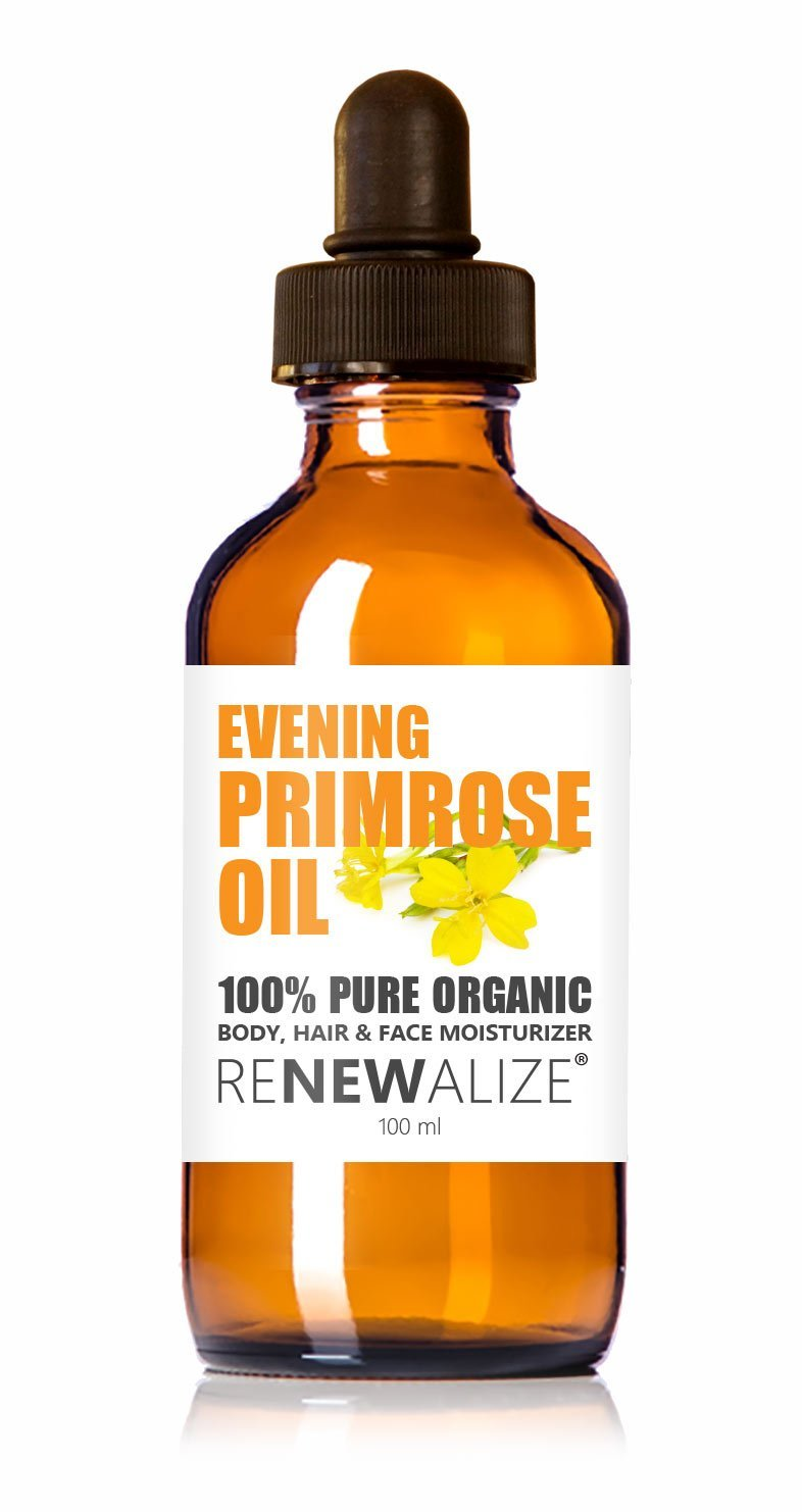 Renewalize Certified Organic Evening Primrose Oil in Large 4 OZ. Dark Glass Bottle | Cold Pressed | Essential All Natural Moisturizer for Hair, Skin and Nails | Rosacea Psoriasis Eczema Relief