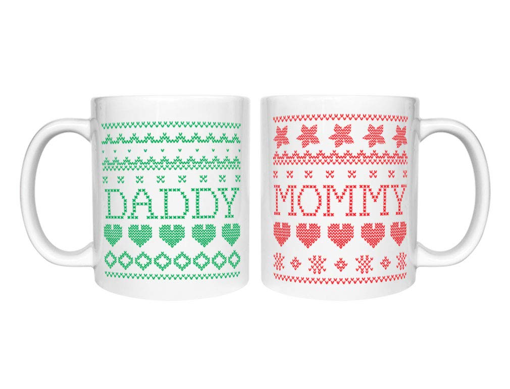 Mommy & Daddy Matching Ugly Christmas Coffee Mugs Set Xmas Gift for Parents Daddy White 15 Oz. / Mommy White 15 Oz.