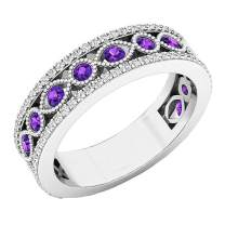 Dazzlingrock Collection 10K Round Gemstone & White Diamond Ladies Vintage Stackable Wedding Band, White Gold