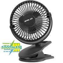 5000mAh Rechargeable Clip Fan, 5 inch Portable Battery Operated Baby Stroller Fan, Quiet & Strong Airflow USB Fan, 3 Speeds Personal Desk Fan, 20 Hours Work Time Ideal for Outdoor Camping Home Office