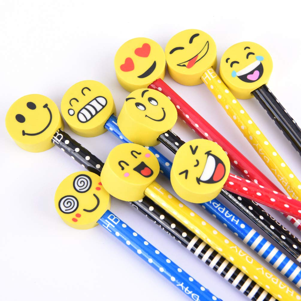 Kids Wooden Pencils Colorful Stripe Pencil With Cute Cartoon Smiley Face Eraser for School Supplies and Children Prize Gifts 9 Pack By BUSHIBU