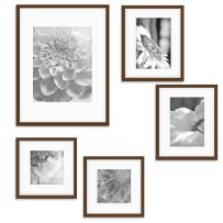 """Gallery Perfect Gallery Wall Kit Photo Decorative Art Prints & Hanging Template Picture Frame Set, Multi Size - 8"""" x 10"""", 5"""" x 7"""", 5"""" x 5"""", Walnut, 5 Piece"""