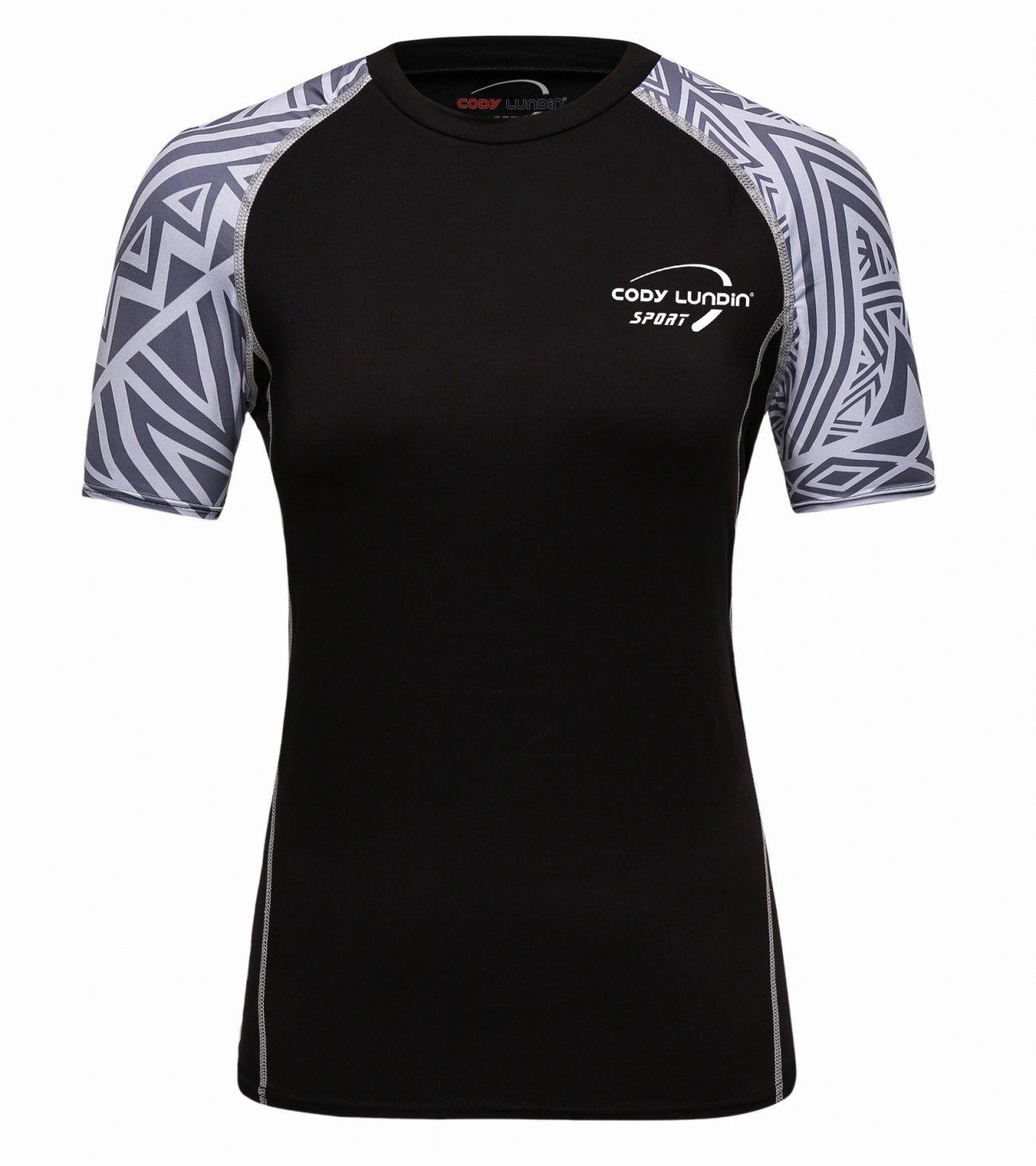 Red Plume Women's Black Basic Fitness Running Sport Short Sleeve T-Shirt