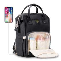 SUNVENO Diaper Bag Backpack with USB Charging Port, Large Capacity Baby Bags Multifunction Travel Backpack for Mom and Dad, Black
