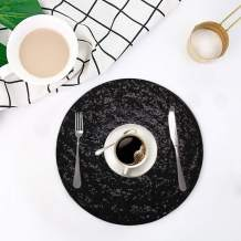 Eternal Beauty Sequin Placemat Set of 6 Round Decoration Sequin Table Mats for Dining Tables 15 inch (Black, 6)