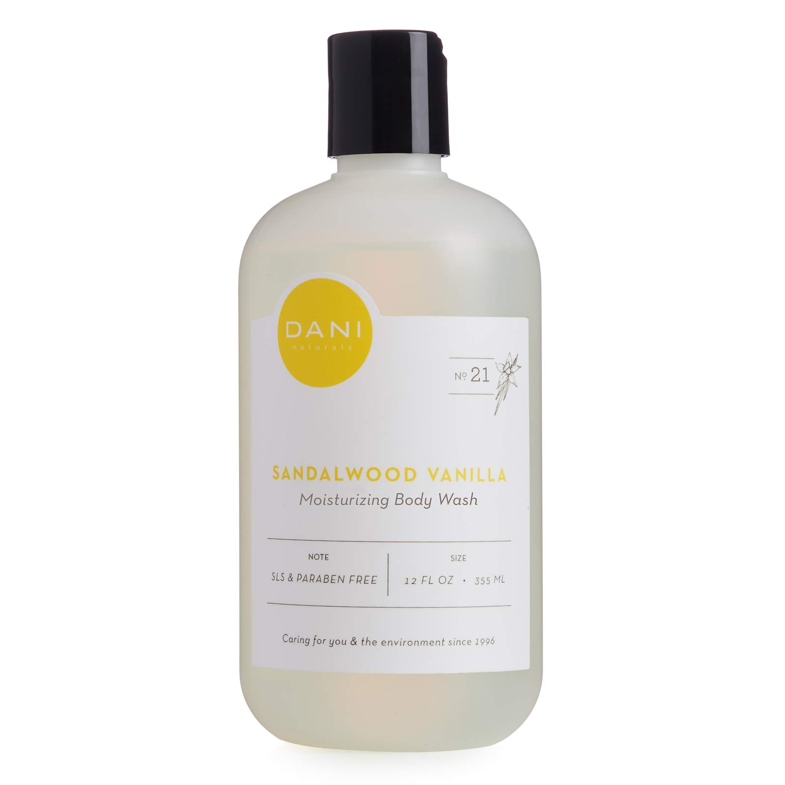 Moisturizing Body Wash By DANI Naturals - Warm Sandalwood Vanilla Aromatherapy - Organic Aloe Vera & Natural Glycerin - Paraben & Sulfate Free Shower Gel - For Men & Women - 12 Ounce Bottle