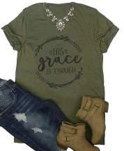His Grace is Enough T Shirt Women Christian Graphic T-Shirt Funny Letter Print Jesus Tee Shirt