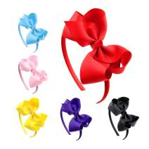 Huachi Bow Headbands for Girls Toddlers Grosgrain Ribbon Headband Cute Fashion Hair Accessories Christmas Birthday Gift, Solid Color, 6Pcs