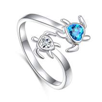 Ladytree S925 Sterling Silver Turtle Animal Open Ring Sea Turtle Heart CZ Adjustable Bypass Nature Ocean Ring
