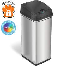 iTouchless 13 Gallon Pet-Proof Sensor Trash Can with AbsorbX Odor Filter and PetGuard, Stainless Steel Kitchen Garbage Bin Prevents Dogs & Cats Getting in, Battery and AC Adapter (Not Included)