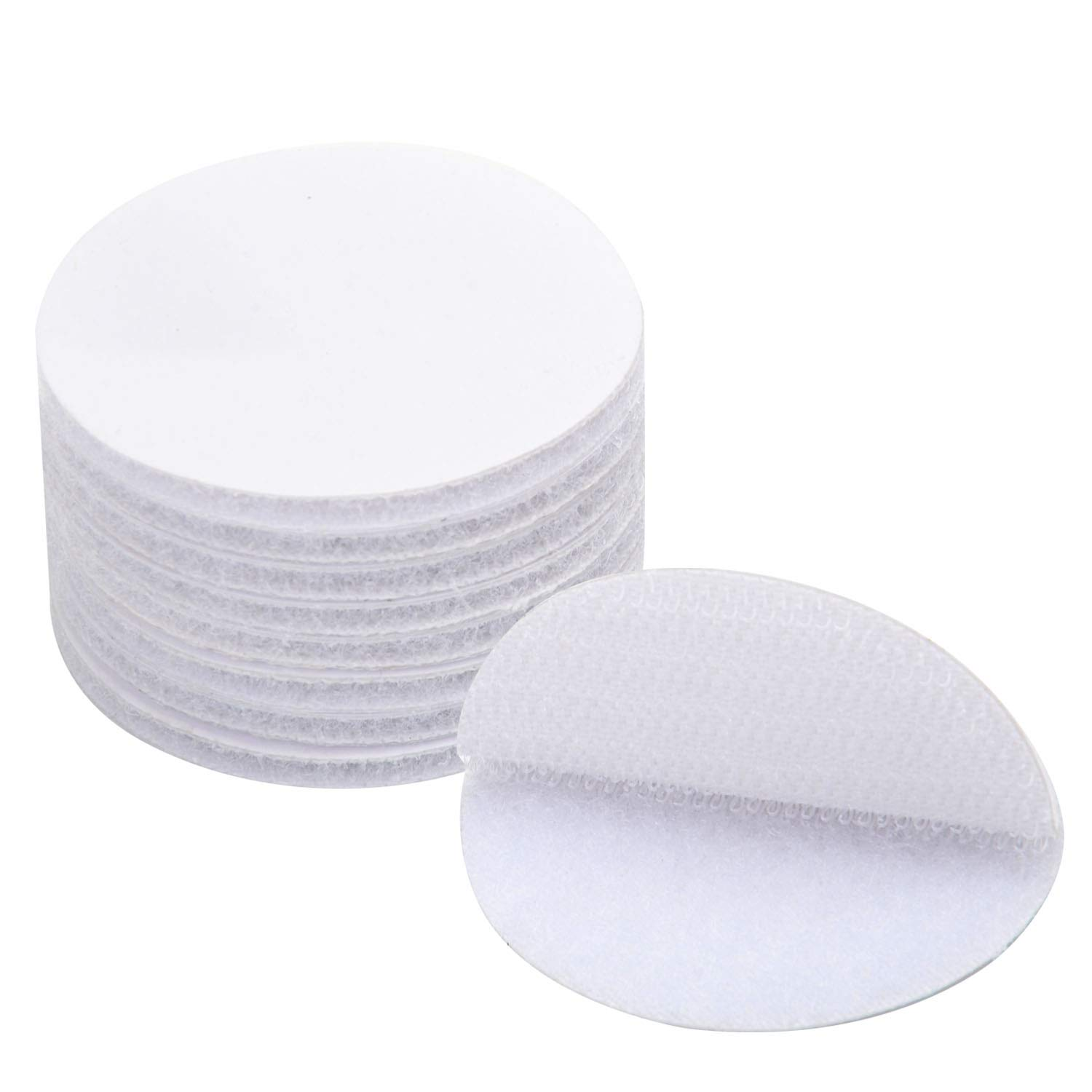 BRAVESHINE Sticky Back Tape - 12PCS Double Sided Hook Loop Dots - Self Adhesive Wall Mounting Coins - Industrial Strength Rug Carpet Pad for Home Couch Cushions Stair Treads - Round 1.5 inch, White