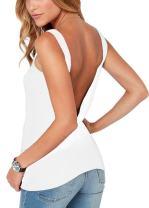 Bestisun Women's Cute Backless Tank Top Back Criss Cross Cute Casual Shirt