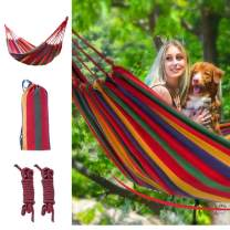 Wolf Walker Canvas Single Outdoor Hammock, Multiples Portable Travelling Hammock with Carrying Bag Yard Camping Tree Suspended Hanging Bed with Tree Straps