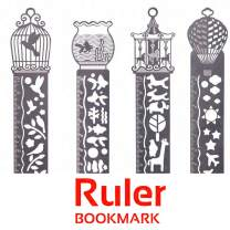 JoyTong Metal Bookmarks Ruler Set for Kids Women Girls Drawing - Book Marker Stencils Drafting Supplies