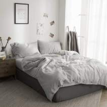 Simple&Opulence 100% Washed Linen Coconut Wood Deduction Solid Bedding Set with 1 Duvet Cover 2 Pillowcase(Grey,Full)