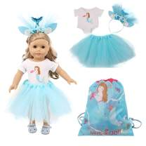 Luckdoll Doll Clothes Set Mermaid Princess Costume and Head Accessory for 18 Inch American Girl Dolls (D Style)