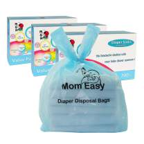 MOM EASY Diaper Sacks with Easy-to-Tie Handles Baby Diaper Disposal Bag Unscented Eco-Friendly Leak Proof Easy Dispensing Baby Poop Bags 8 x 15 inches 600 Counts