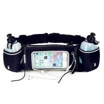 LITHER Running Belt with Water Bottle Holder - Women Men Running Hydration Belt for Phone Adjustable Running Fuel Belt with 2 Water Bottles 12 oz BPA Free