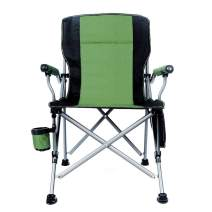 Lamberia Folding Camping Chair Heavy Duty Support 330 lbs Outdoor Mesh Back Quad Chair with Arm Rest Cup Holder and Portable Carrying Bag (Green)