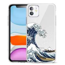 Unov Case Clear with Design for iPhone 11 Case Slim Protective Soft TPU Bumper Embossed Pattern Cover 6.1 Inch (Great Wave)