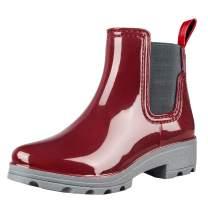 fazoc Rain Boots for Womens Girls Waterproof Non-Slip Rubber Ankle Rain Chelsea Booties