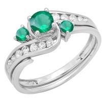 Dazzlingrock Collection 10K Round Emerald And White Diamond Ladies Swirl Bridal Engagement Ring Matching Band Set, White Gold