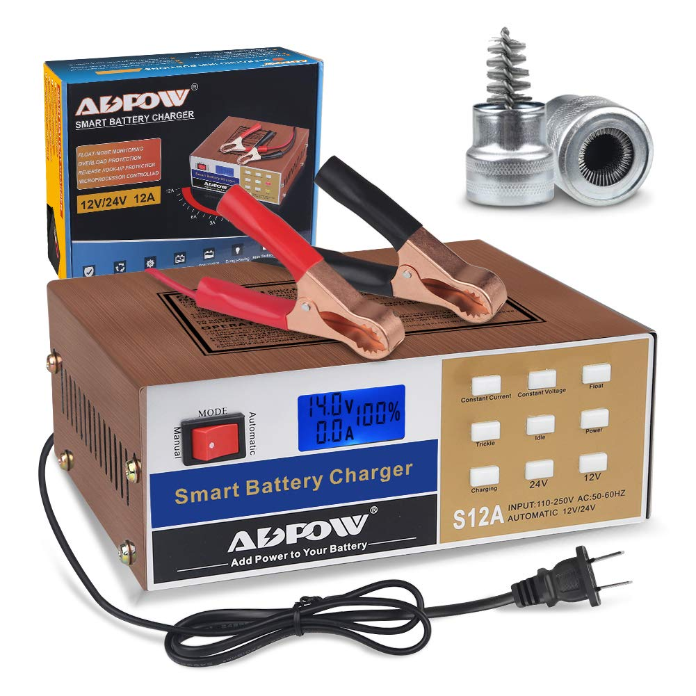 ADPOW Automotive Smart Battery Charger 12V 24V 10A Automatic Car Battery Maintainer Intelligent Pulse Repair for Boat Marine Truck Lawn Mower Deep Cycle Battery with Terminal Clean Brush