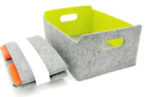 WELAXY storage baskets Felt Foldable Storage Cube bin Shelf Bins Organizer Felt box for for Kids Toys Magazine Books Clothes for Office Bedroom Closet Babies Nursery Laundry organizing (Spring green)