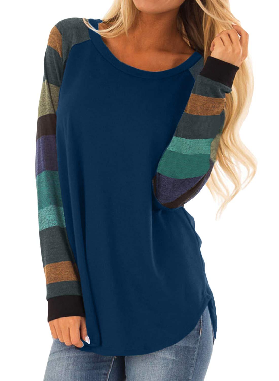 Asvivid Womens Color Block Tunic Tops Crewneck Long Sleeve T-Shirt Casual Loose Shirt Blouses