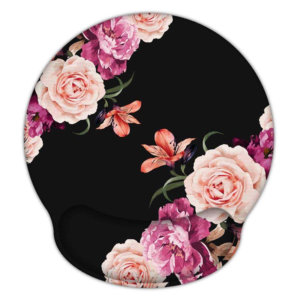 Ergonomic Mouse Pad with Gel Wrist Rest Support, iLeadon Non-Slip Rubber Base Wrist Rest Pad for Home, Office Easy Typing & Pain Relief, Adorable Peony Flower