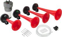 Vixen Horns Loud 4/Four Trumpet Call to The Post/First Call Musical/Music Sound Air Horn with Compressor Full Complete System/Kit Red 12V VXH6805R