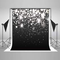 8ft(W) x8ft(H) Silver Sparkle Glitter Backdrops Black Silver Bokeh Dots Photo Background Light Spots Birthday Wedding Photography Party Studio Props