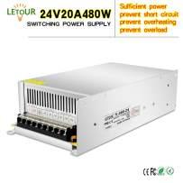 LETOUR LED Power Supply 24V 20A 480W AC 96V-240V Converter Adapter DC S-480W-24 Power Supply for LED Lighting,LED Strip,CCTV (24V 20A 480W)