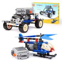 ROTERDON Building Bricks STEM Toys Kit 221 Pcs Car Assembling Off Road Auto Car & Assemble Helicopter 2 in 1 Take Apart STEAM Toys Power Machinery Kits for Kids Teens