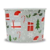 Christmas Themed Paper Dessert Cups - 12 oz Holiday Ice Cream Bowls - Happy Holidays Theme - Frozen Dessert Supplies - 100 Count