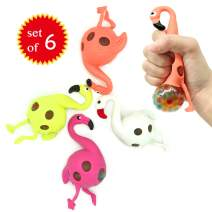 EUYZOU Anti Stress Squishy Multicolored Hand Exercise DNA Ball, Slime Prime Toys for Kids, Animal Stress Ball, ADHD Fidget Toys, The Shape of Flamingos Set of 6