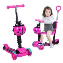 Birtech 3 Wheel Scooter for Kids Toddlers Girls & Boys, Removable Seat, LED Flashing Wheels and Adjustable Height, Kick Scooter for Children 1-8 Years Old