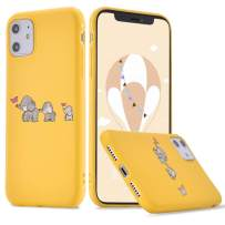 LuGeKe Cute Elephant Print Phone Case for iPhone 11 Pro Max Silicone Cases Elephant Family Pattern Cover Shock Absorption Flexible Yellow Skin Frame (Cartoon Elephant Family)