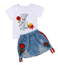 Toddler Baby Girls Smell The Rose T shirtTops + Denim Skirts Clothing Outfit Set