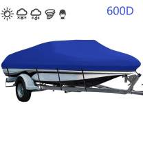 LEADALLWAY Heavy Duty 600D Polyester Cover Marine Grade Trailerable Boat Cover,Fits V-Hull Tri-Hull Runabouts and Bass Boats