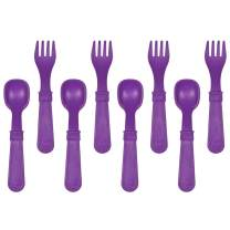 RE-PLAY Made in The USA 8pk Fork and Spoon Utensil Set for Easy Baby, Toddler, and Child Feeding in Amethyst | Made from Eco Friendly Heavyweight Recycled Milk Jugs | (Amethyst)