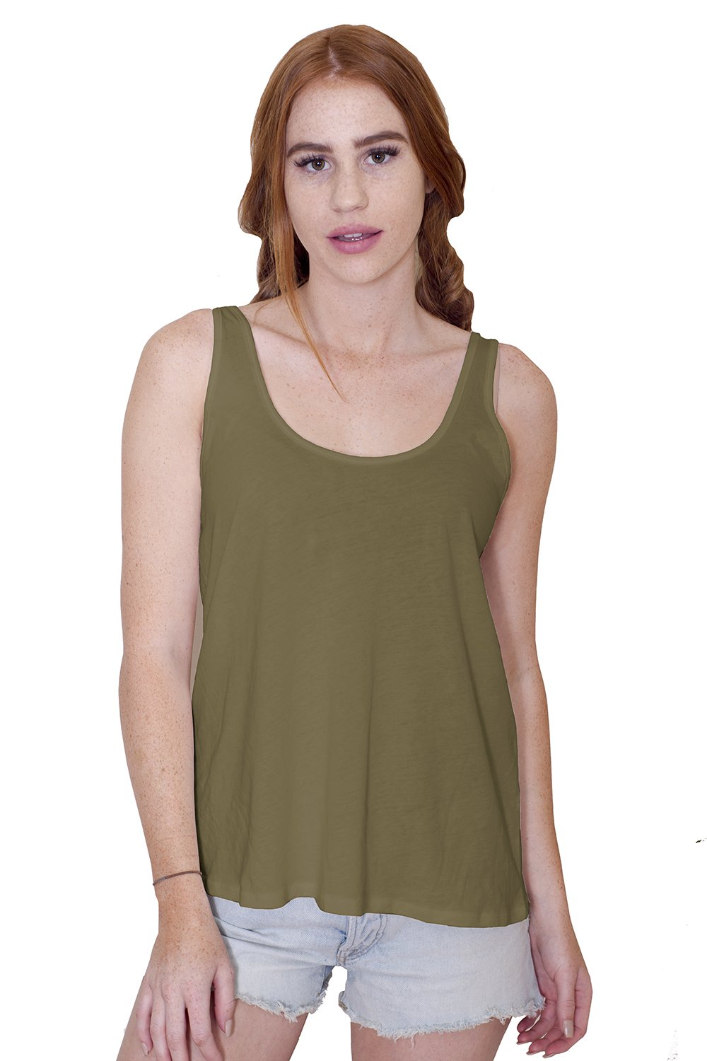 Women's Certified Organic Cotton Loose Fit Flowy Tank Top - Non-GMO, Eco Friendly, Made in The USA