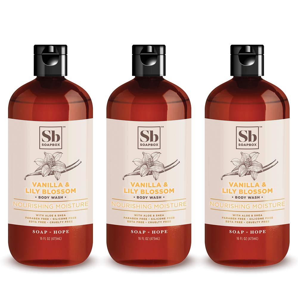 Soapbox Nourishing Moisture Body Wash, Vanilla & Lily Blossom, Moisturizing Body Wash for Sensitive Skin, 16 Ounce (3 Pack)