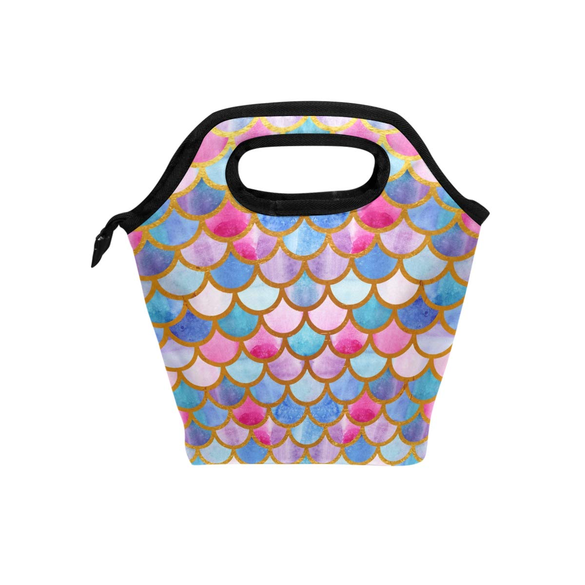Naanle Watercolor Mermaid Scales Insulated Zipper Lunch Bag Cooler Tote Bag for Adult Teens Kids Girls Boys Men Women, Colorful Lunch Boxes Lunchboxes Meal Prep Handbag for School Office