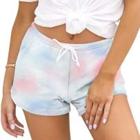 Hawiton Women's Tie Dye Pajama Shorts Sleeping Bottoms Exercise Activewear with Pockets