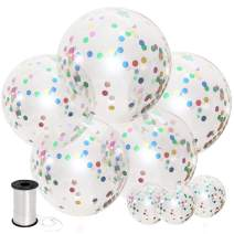 Shimmer and Confetti 8 Pack Large Unicorn Multicolor Rainbow Confetti Balloons with 5 Pieces 36-inch Confetti-Filled Balloons and 3 Pieces 12-inch Confetti-Filled Balloons
