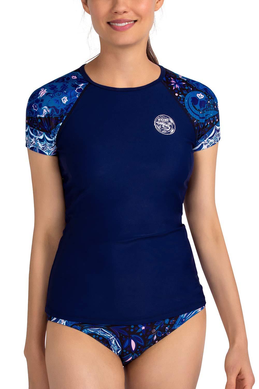 AXESEA Womens Rash Guard Short Sleeve Rashguard Swim Shirt UPF 50+ Swimsuit