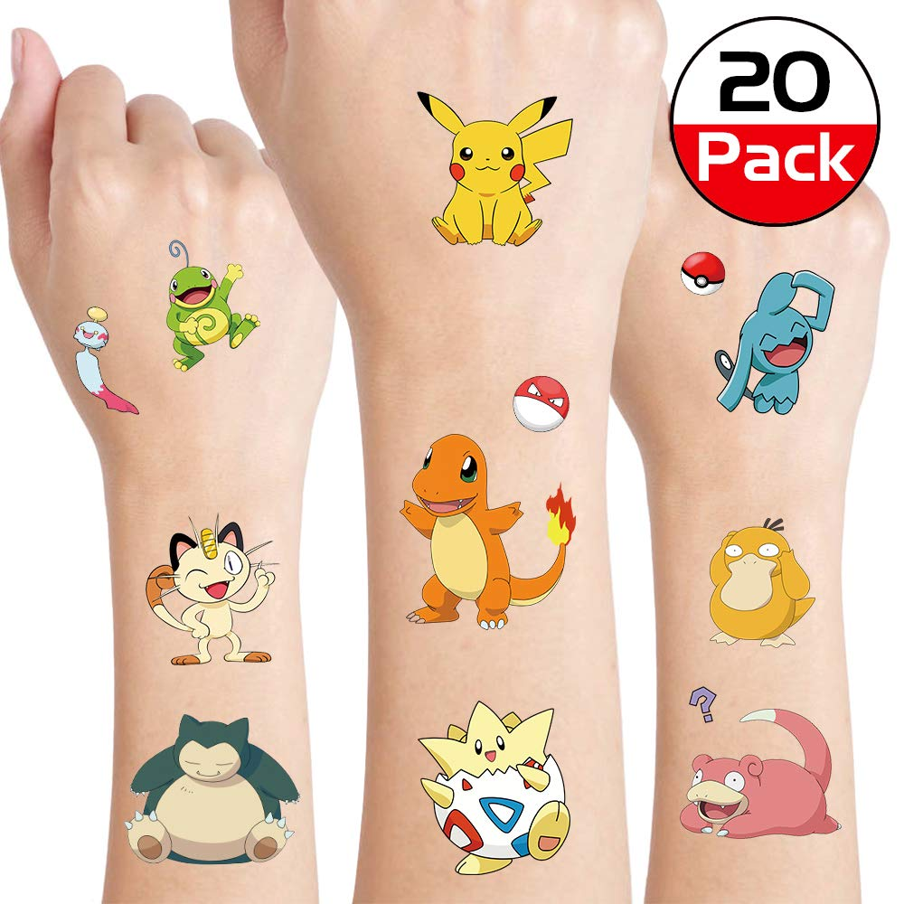 Pikachu Temporary Tattoos for Kids, Party Supplies Favors Fake Tattoos Art Craft for Kids Boys Girls, School Rewards, Kids Birthday Gifts Water Bottle Decor